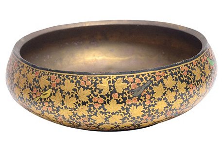 Goldenrod Painted Kashmiri Bowl