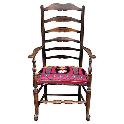 English Ladderback Suzani Armchair
