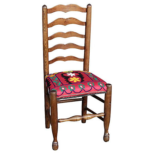 19th-C. English Ladderback Suzani Chair