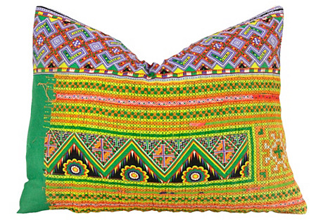 Neon Hmong Hill Tribe Pillow