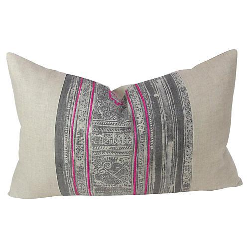 Ash Lumbar Batik Linen Pillow