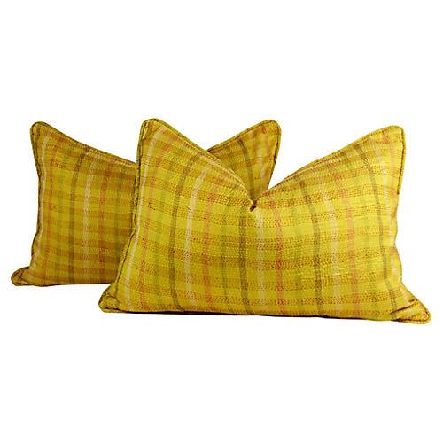 Vivid Yellow Silk Kantha Pillows, Pair