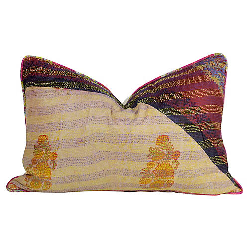 Kashmiri Flower Silk Kantha Pillow
