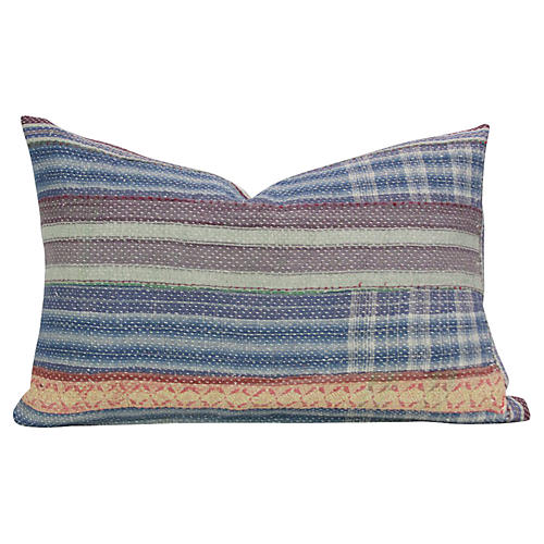 Plaid Bengal Kantha Lumbar Pillow