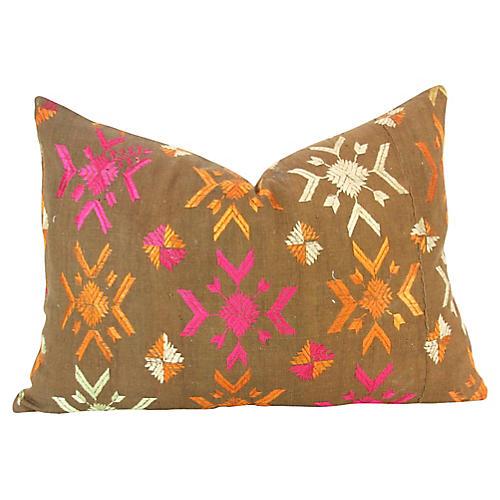 Charu Bagh Phulkari Lumbar Pillow