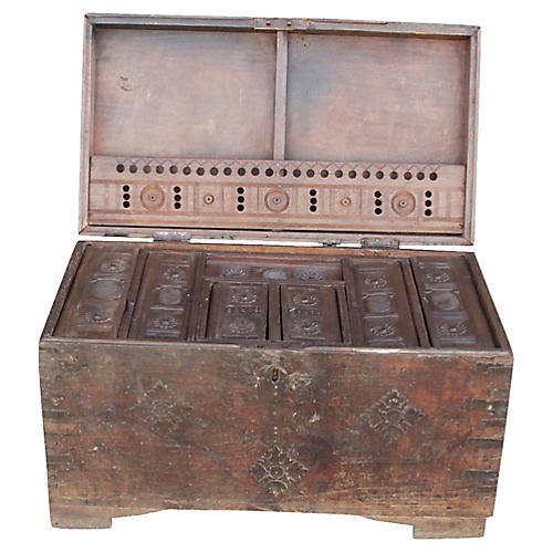 19th-C. Campaign Dowry Trunk