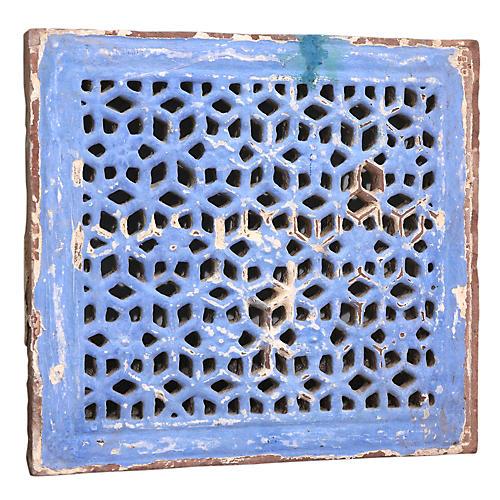 Painted Mandir Stone Jali Panel