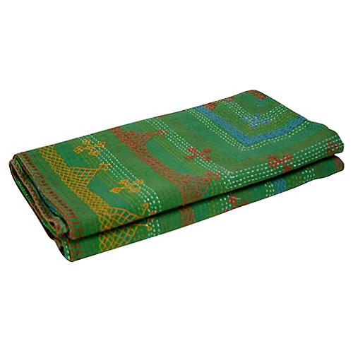 Green Tribal Coverlet