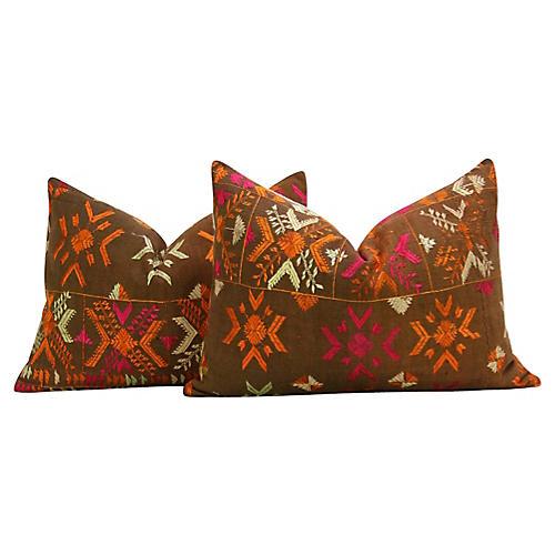 Senchi Phulkari Pillows, Pair