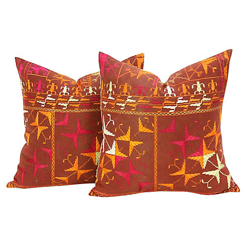 Ambala Phulkari Pillows, Pair