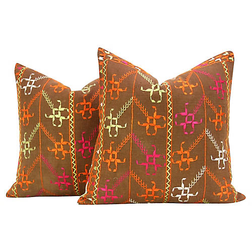 Chakwal Phulkari Pillows, Pair
