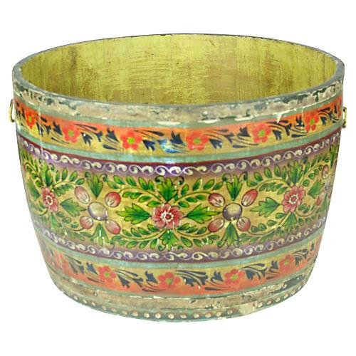 Folk Painted Large Grain Bucket