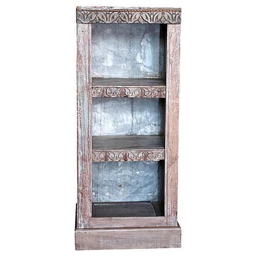 Whitewash Carved Bookcase