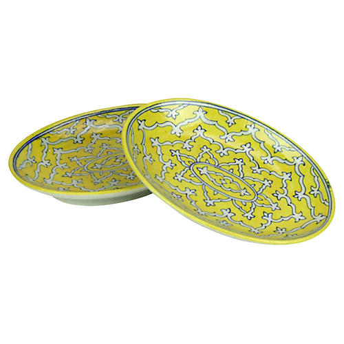 Yellow Jaipur Platters, Pair