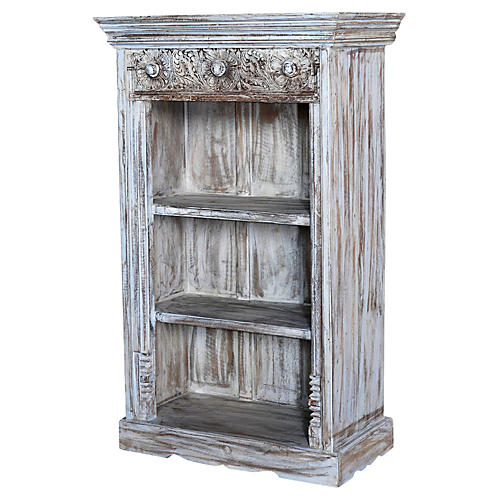 Whitewash Carved Bookcase