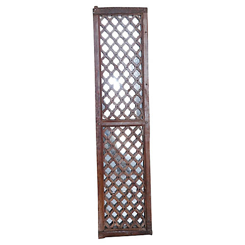 Antique Asaja Carved Lattice Mirror