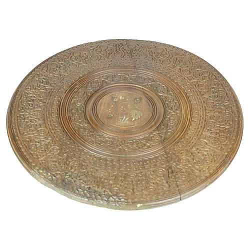 Anglo-Indian Brass-Inlay Carved Tray