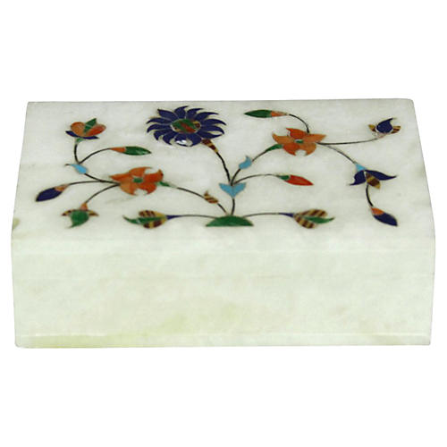 Floral Inlay Marble Jewelry Box