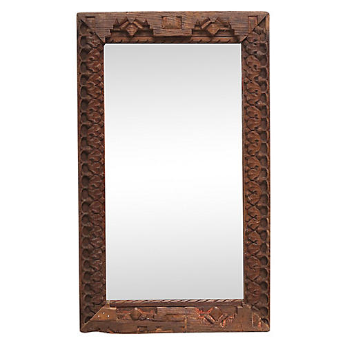 19th-C. Tribal Carved Mirror