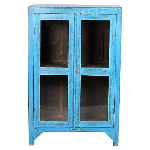 Blue Glass-Paneled Cabinet
