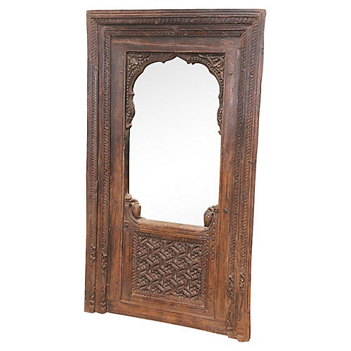 Antique Indian Jharokha Carved Mirror