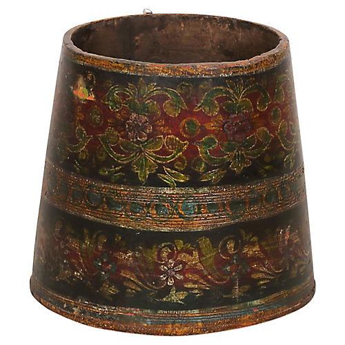 Tribal Painted Grain Bucket