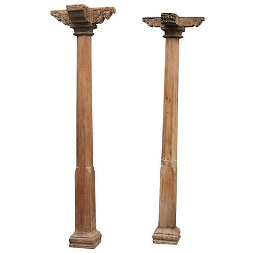 19th Century Indian Columns, Set Of 2
