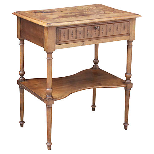 19th-C. French Marquetry Top Table