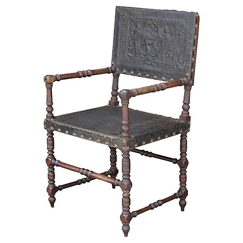 19th C. French Embossed Leather Chair