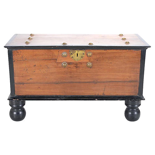 Indo Dutch Antique Trunk On Stand