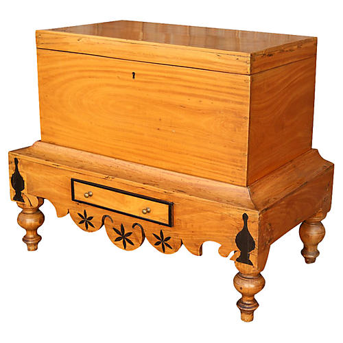 Dutch Colonial Satinwood Trunk on Stand