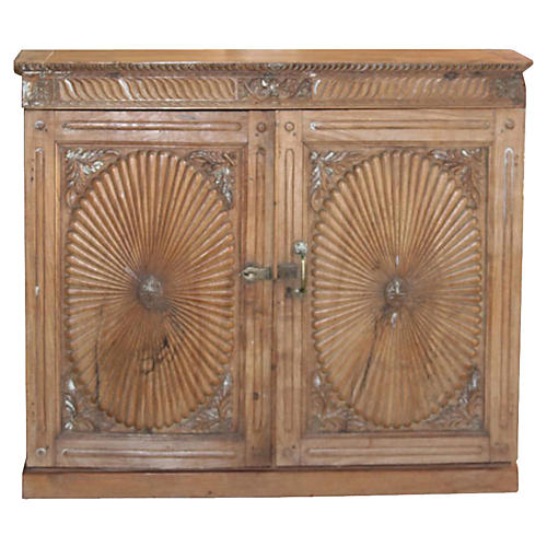 Antique Teak Sunburst Buffet Cabinet