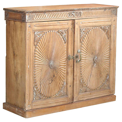Antique Sunburst Buffet Cabinet
