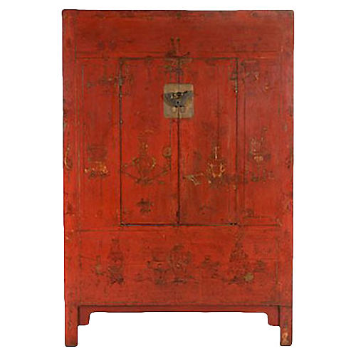 Red & Gilt Chinoiserie Cabinet