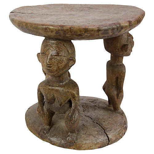 African Tribal Carved Stool