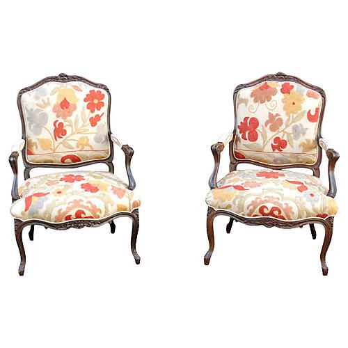 18th-C. French Suzani Fauteuils, Pair