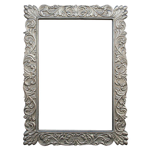 Carved German Silver Mirror