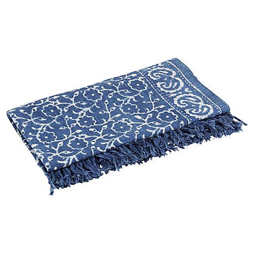 Floral Indigo Batik Throw