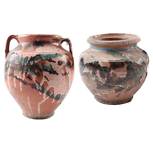 Turkish Terracotta Olive Jars, Set of 2