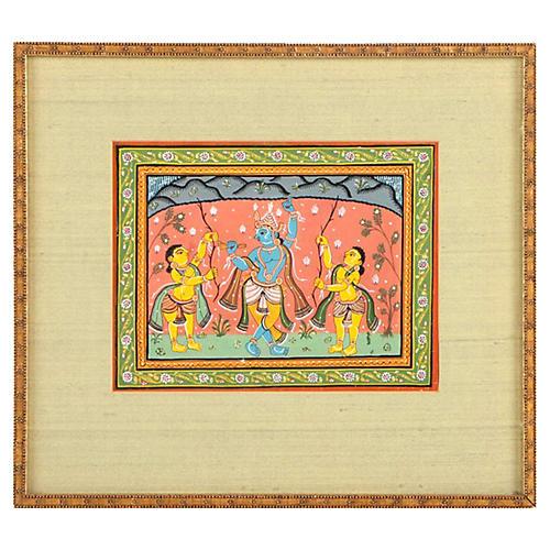 Indian Gouache Shiva Painting