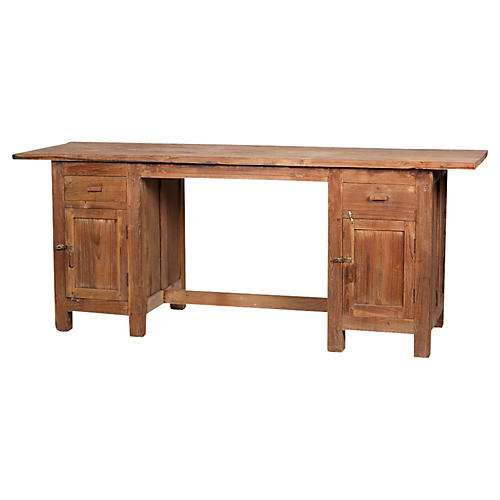 Robust Teak Colonial Buffet Console