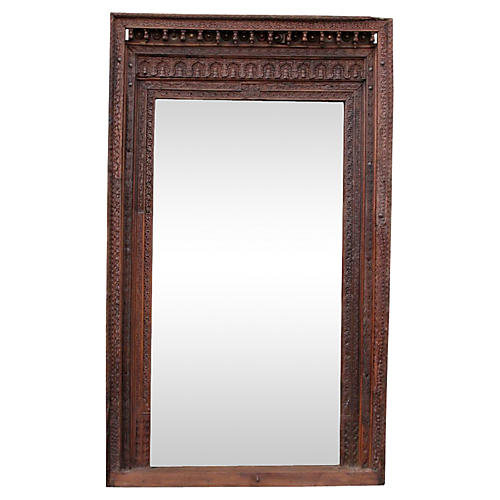 19th-C. Khatu Carved Floor Mirror
