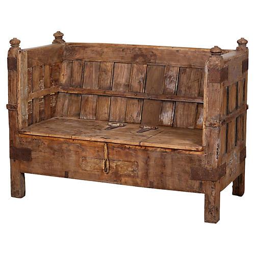 Rustic Paneled Box Club Sofa Bench