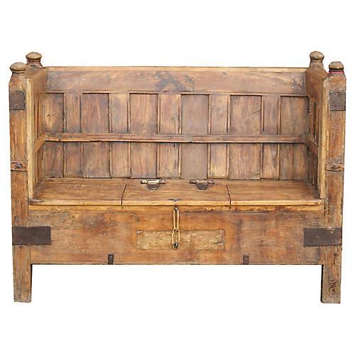 Antique Paneled Box Club Sofa Bench