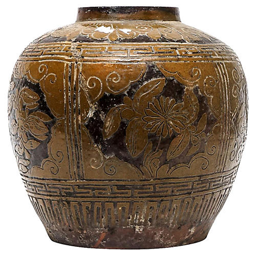 Antique Floral Martaban Jar