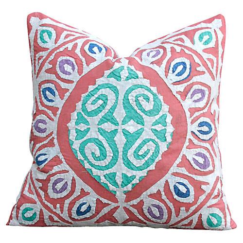 Faded Red Jogi Rali Appliqué Pillow