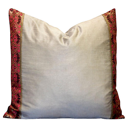 Gray Heritage Silk Pillow