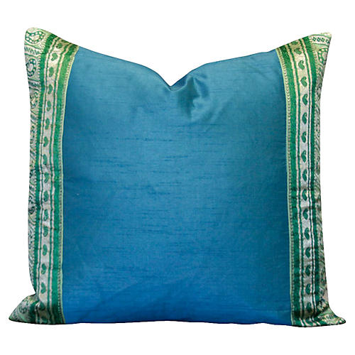 Teal Heritage Silk Pillow