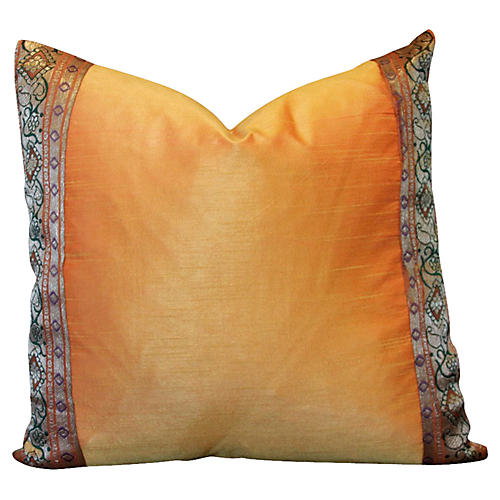 Orange Vine Heritage Silk Pillow