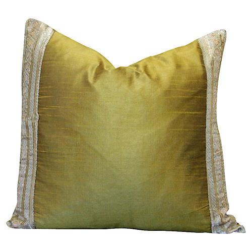 Yellow Floral Heritage Silk Pillow